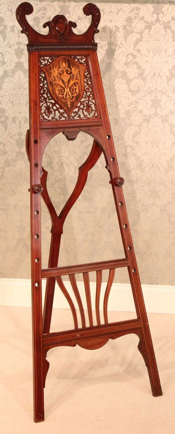A Late Victorian Mahogany Pierced Fretwork Display Studio Easel