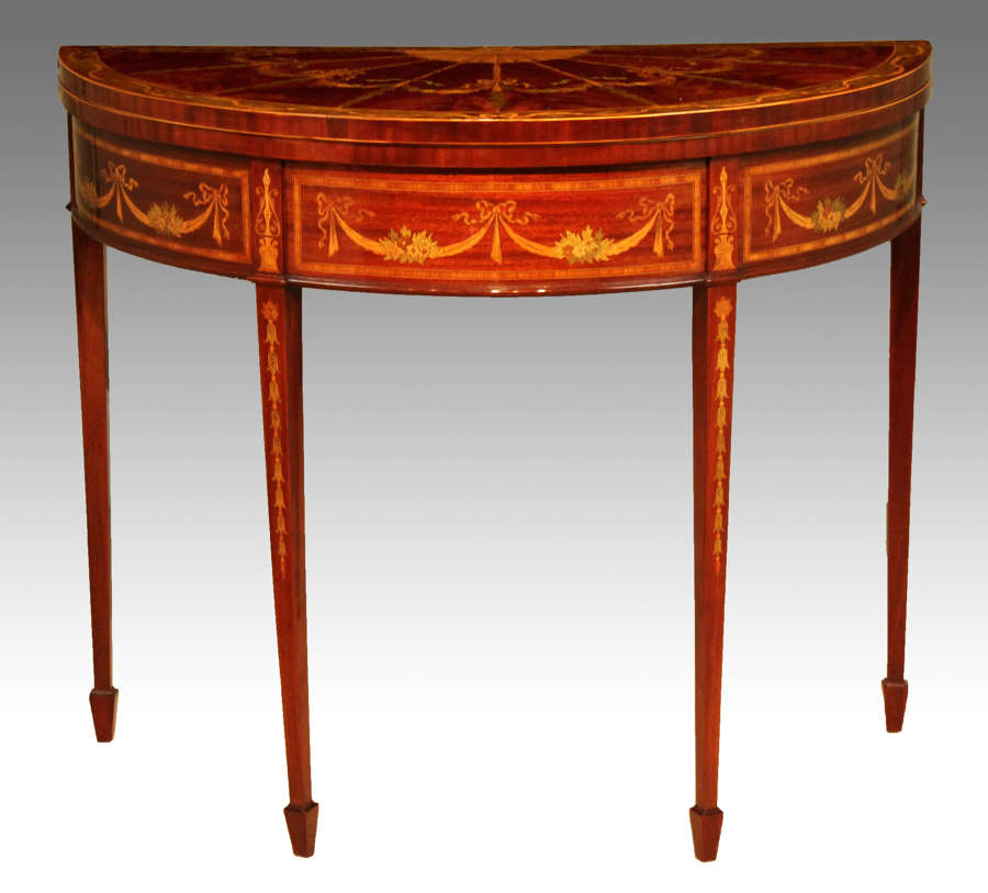A Quality Late Victorian Mahogany Inlaid Demi-lune Card Table.