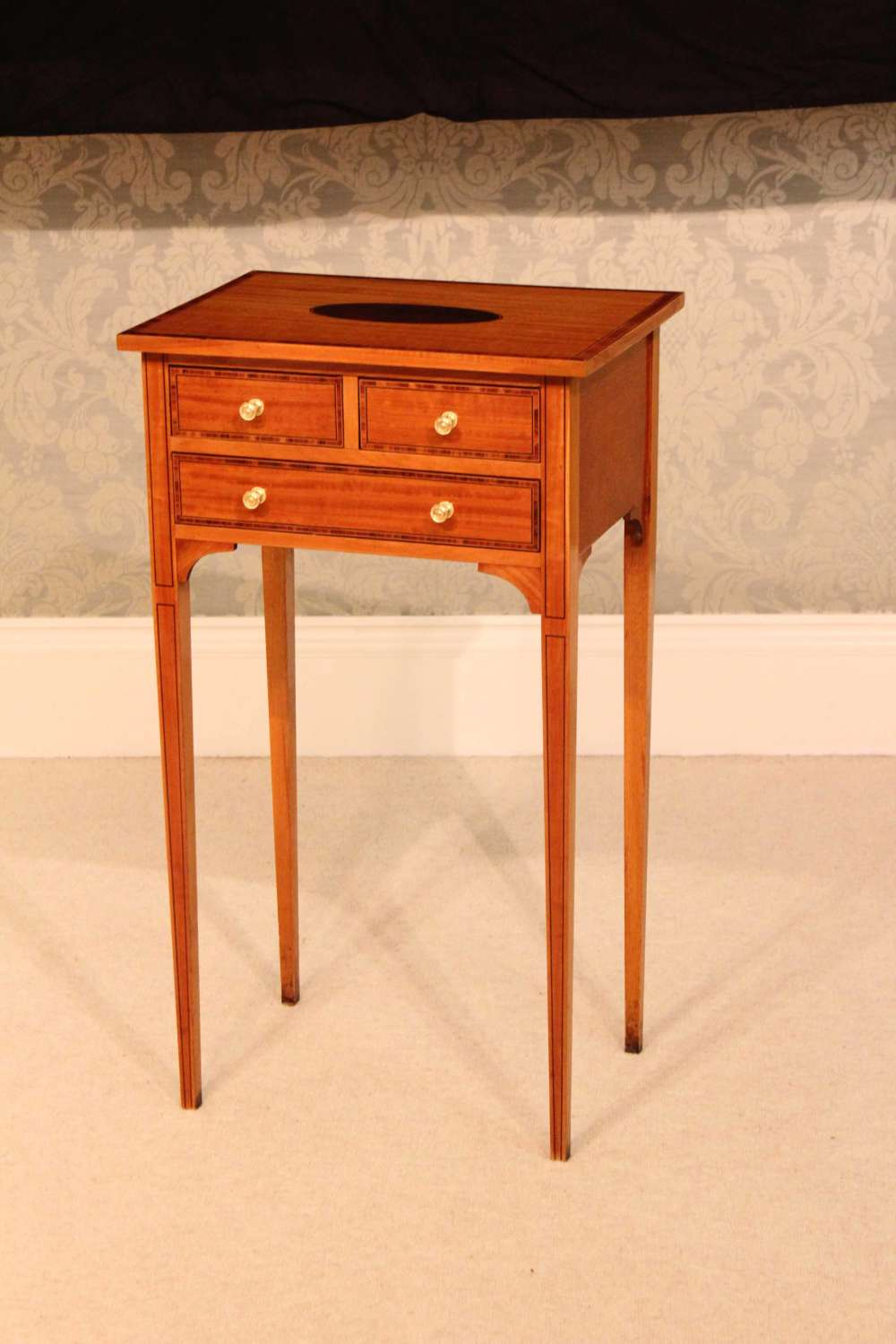 The Quality Edwardian Satinwood Inlaid Side Table.