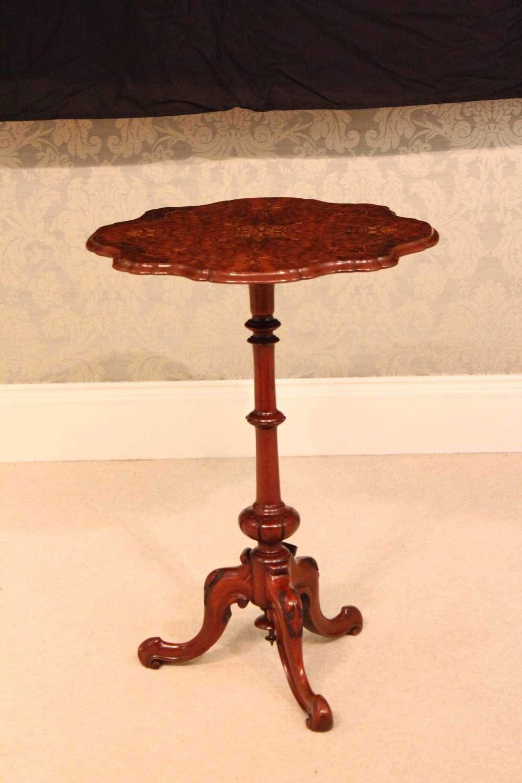 A Fine Quality Victorian Burr-Walnut Inlaid Scallop edge Tripod Table