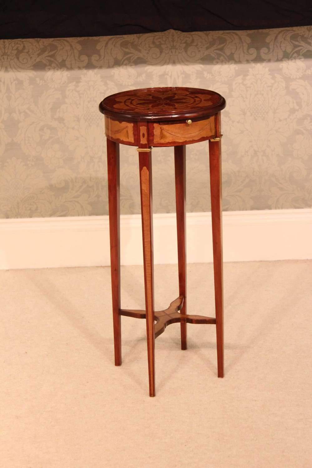 A Beautiful Inlaid Victorian Round Top Kettle Stand