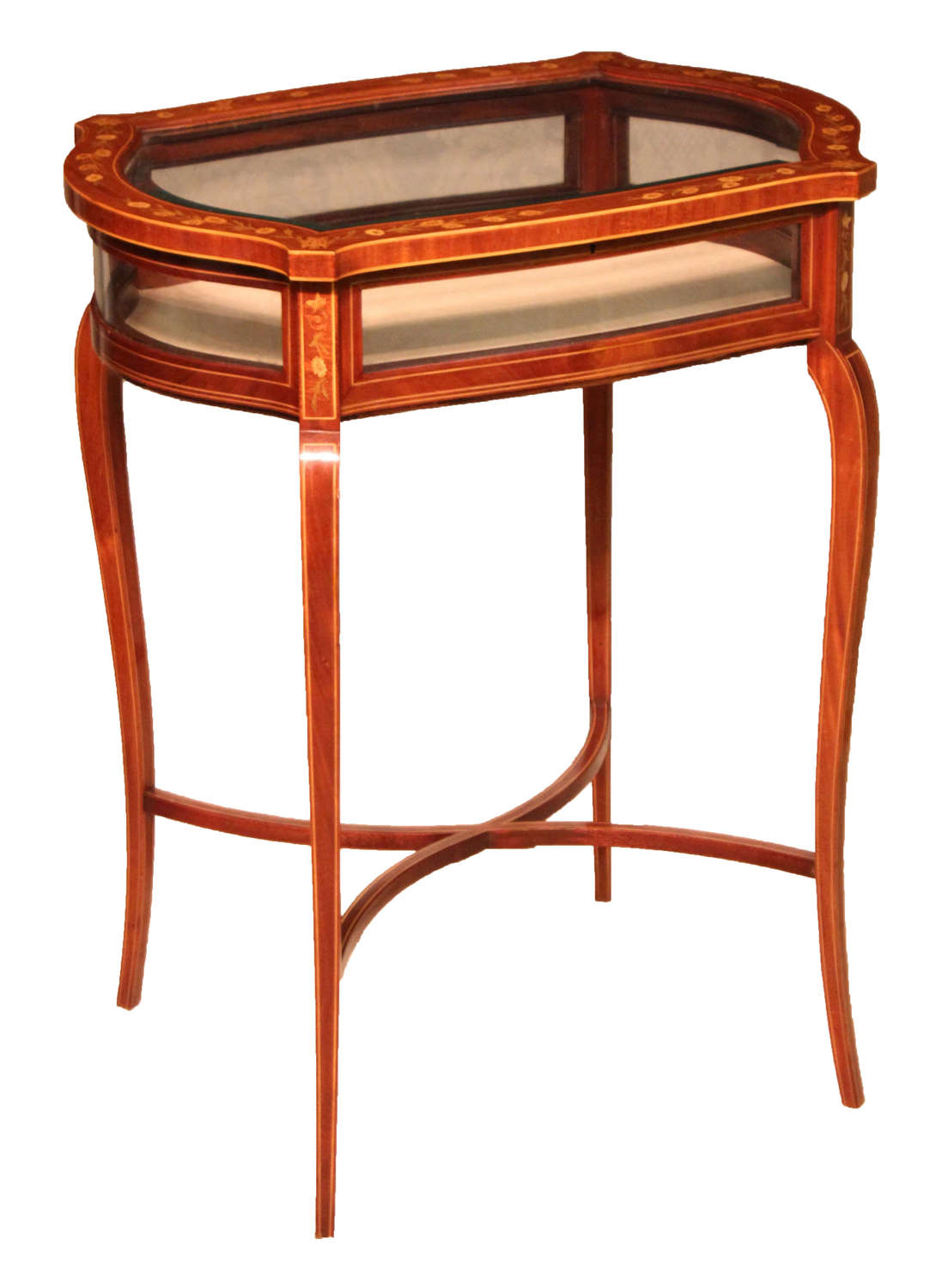 A Late Victorian Mahogany Inlaid Serpentine Shaped Bijouterie Table