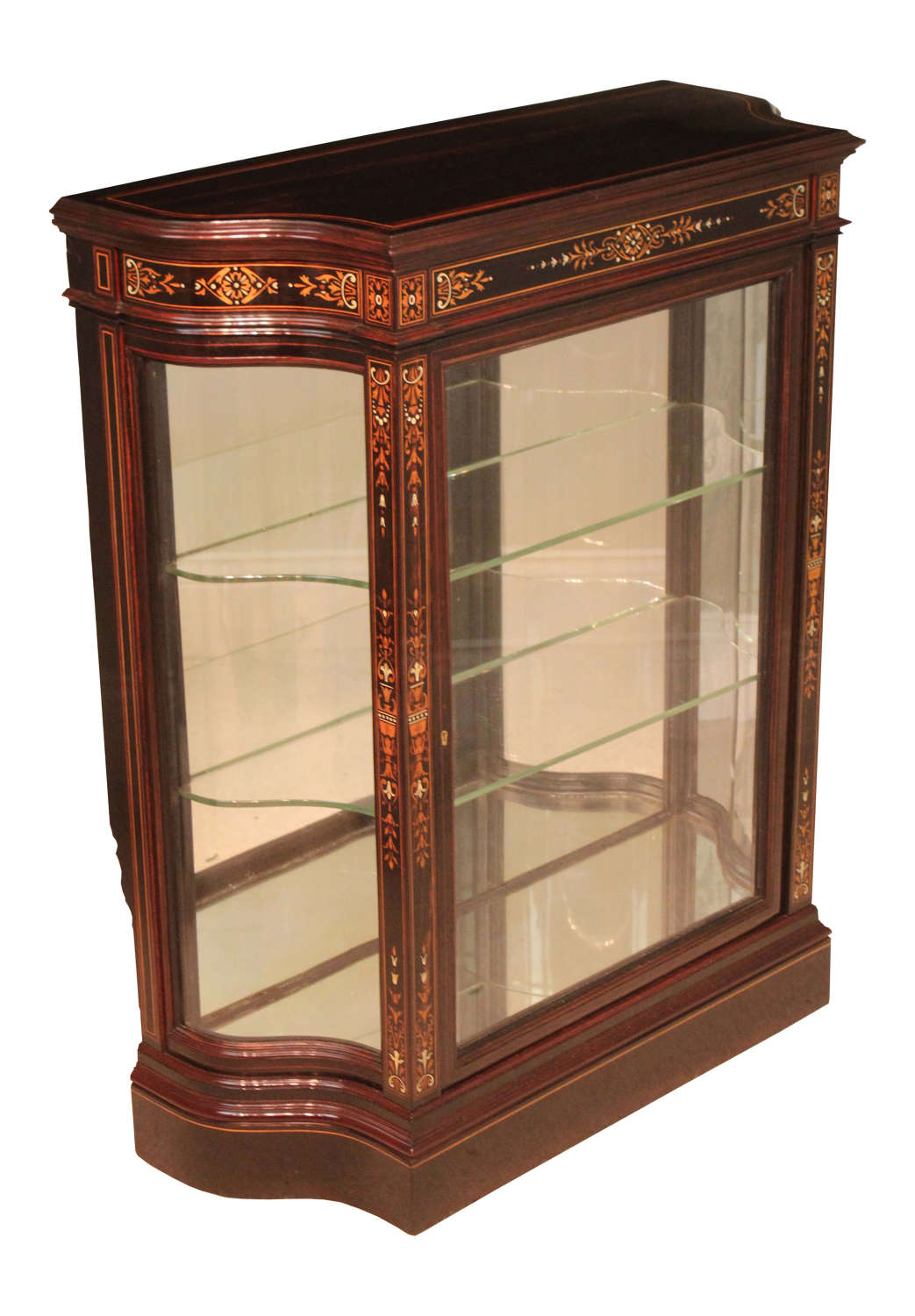 A Victorian Coromandel Aesthetical Serpentine ended Pier Cabinet
