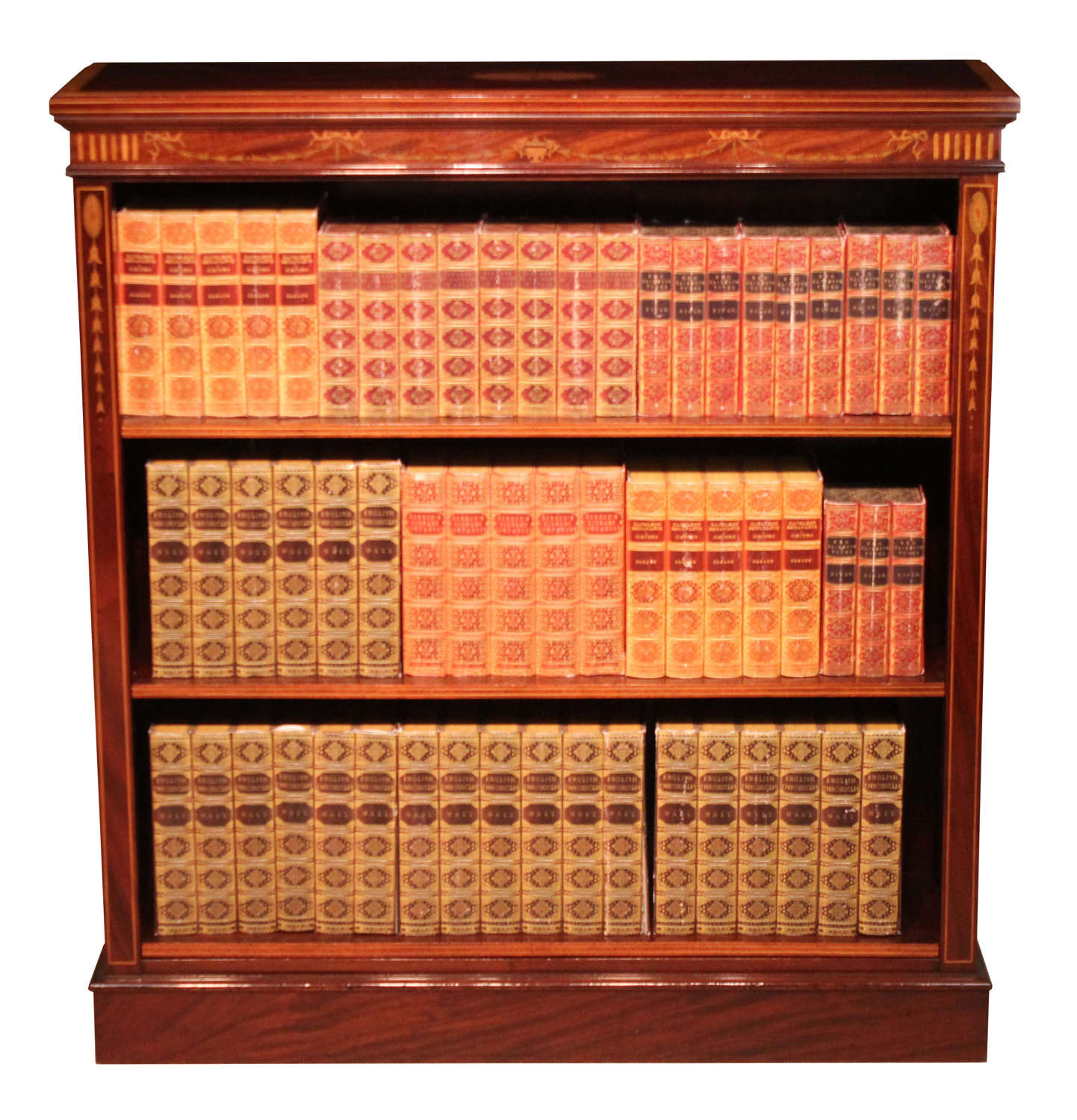 A Fine Quality Mahogany Late Victorian Inlaid Open Bookcase