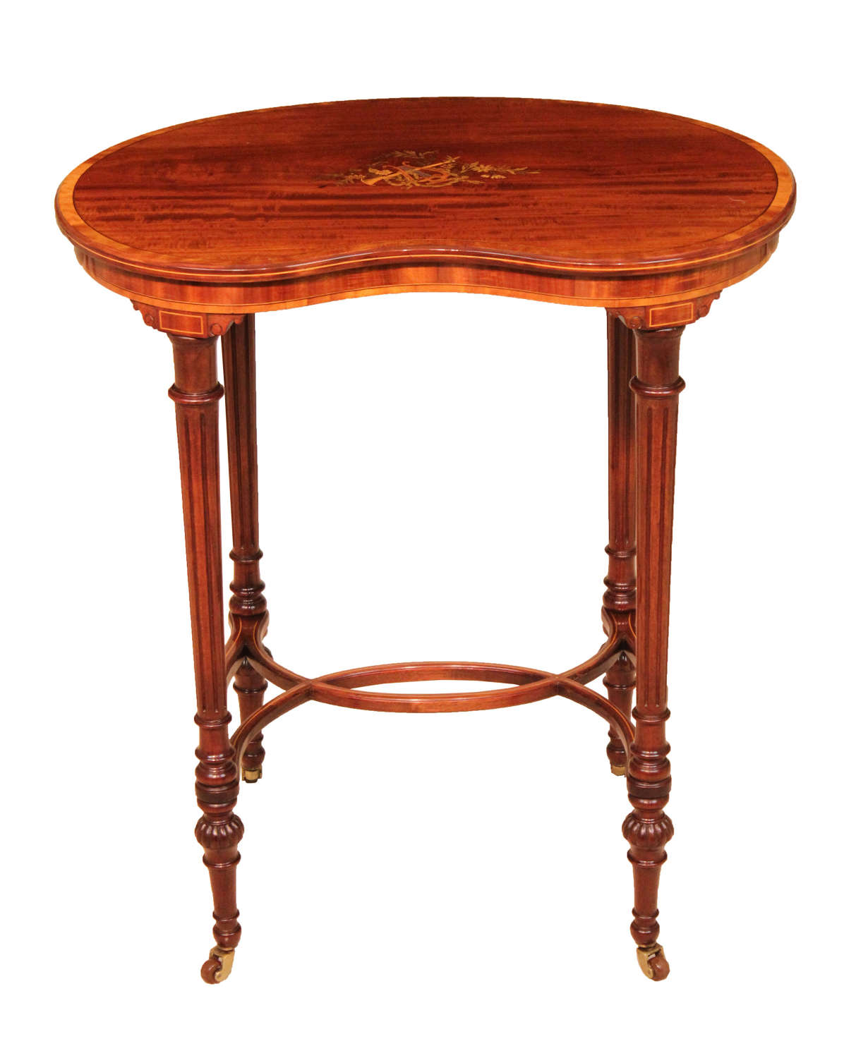 A Quality Late Victorian Mahogany Inlaid Kidney Table