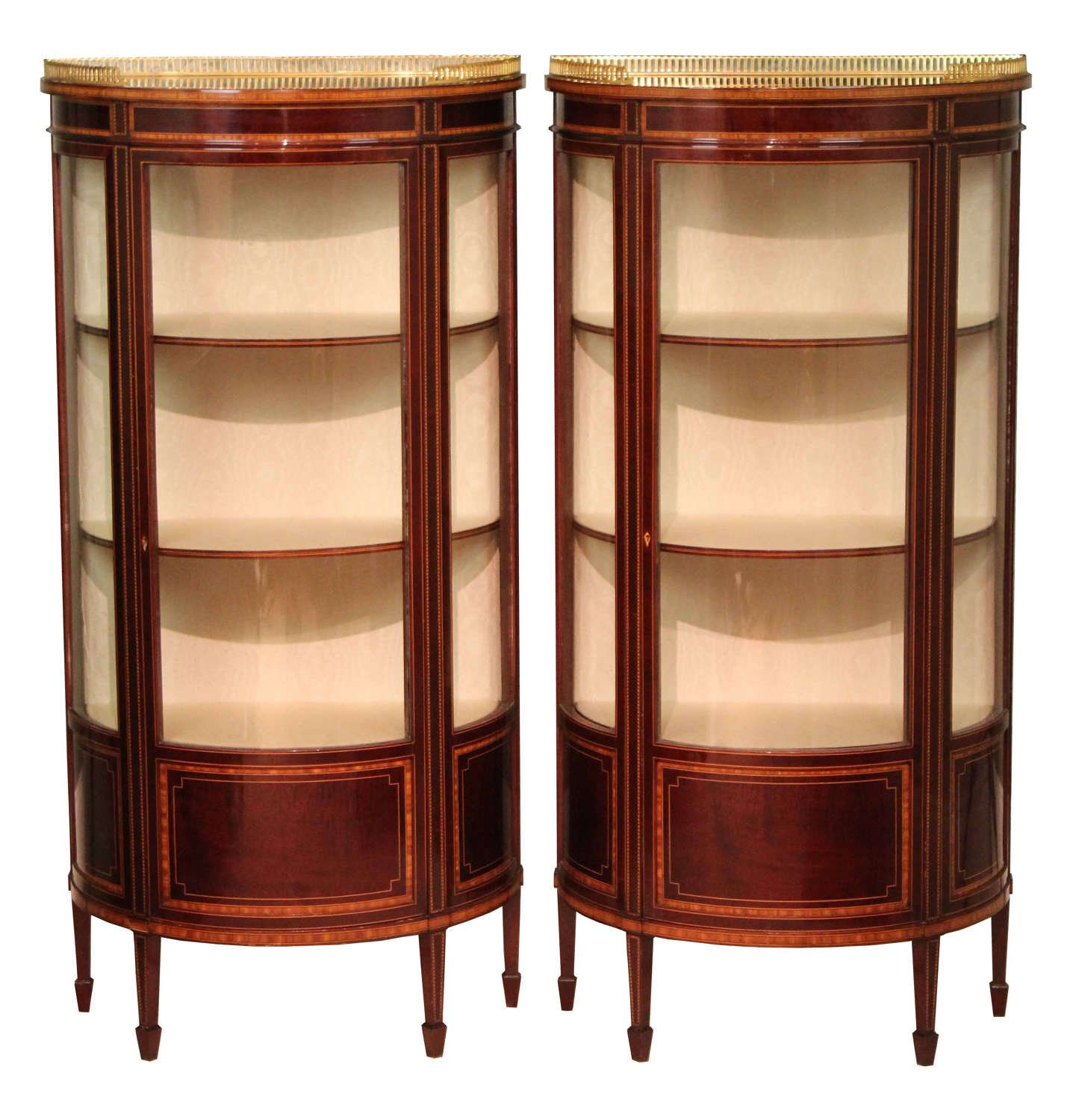 A Pair of Edwardian Inlaid Bow-front Glazed Display Cabinets