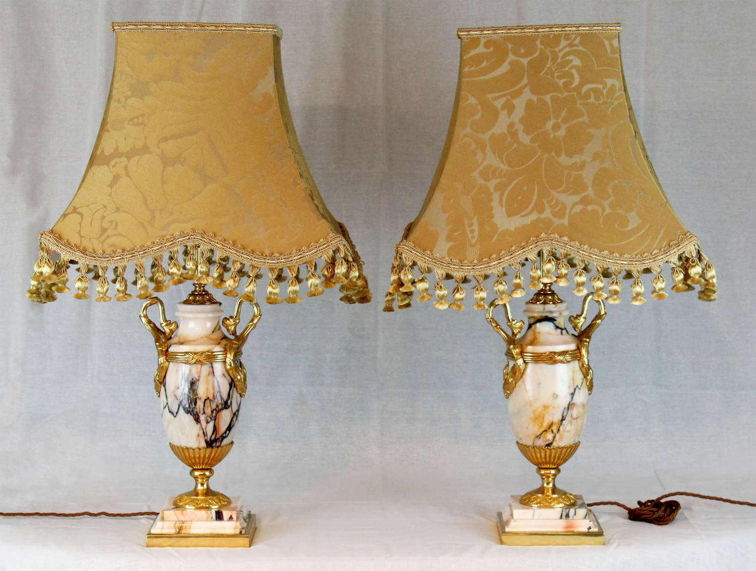 A Late 19th C. Pair of French Marble and Ormolu Table Lamps