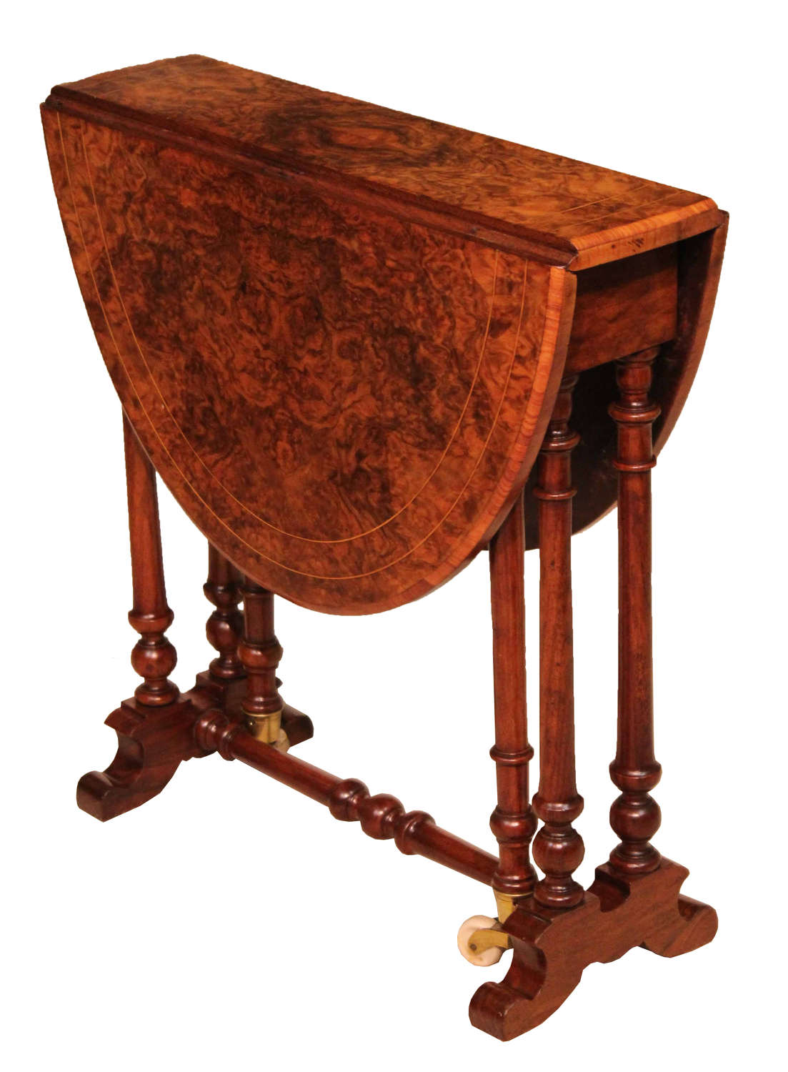 A Victorian Burr Walnut Baby Sutherland Table