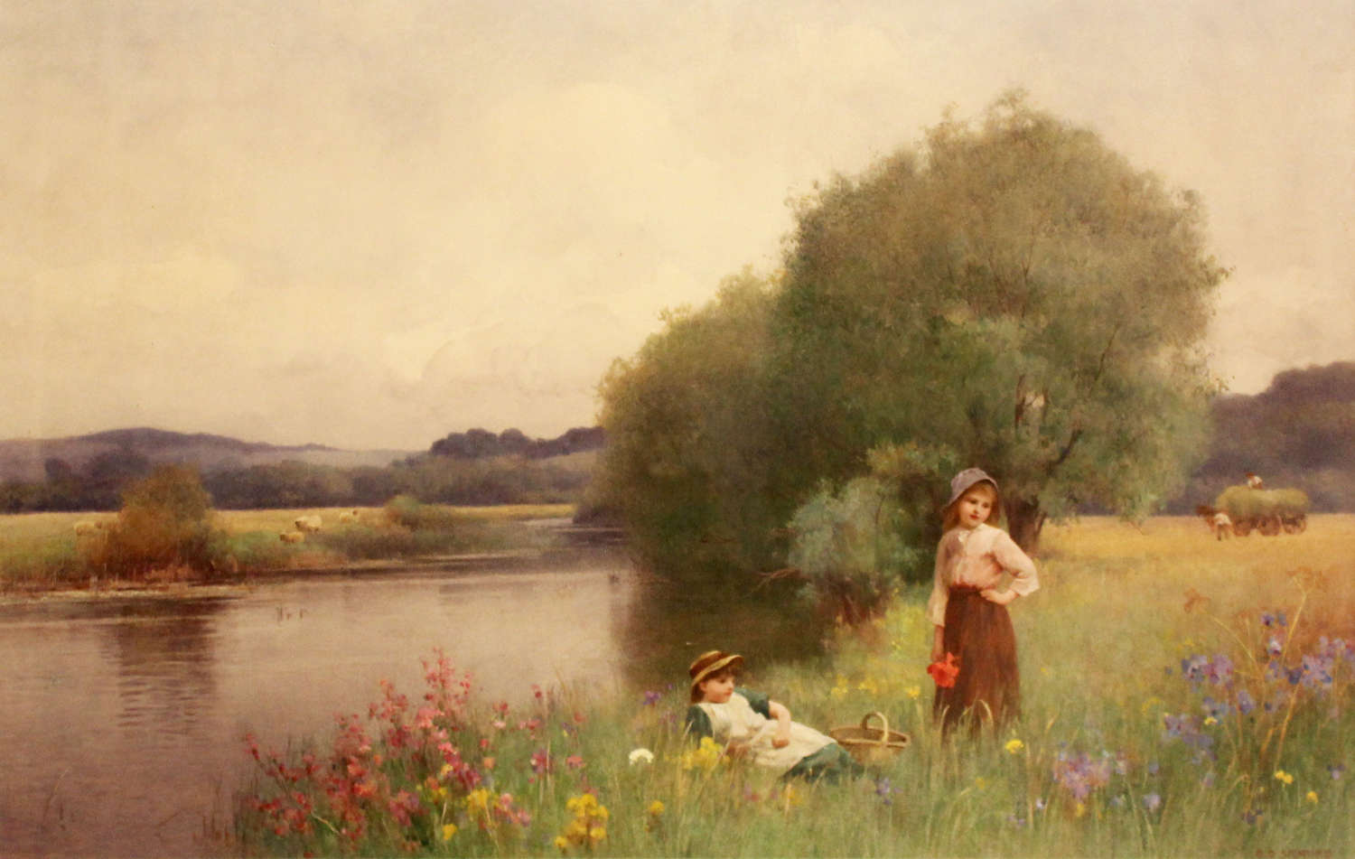 Benjamin D. Sigmund (1880-1903) Watercolour of girls in a river scene