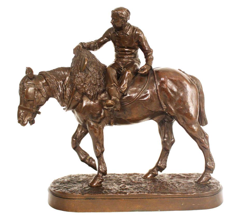 Isidore Jules Bonheur Late 19th C French Bronze of Farmer on Horseback
