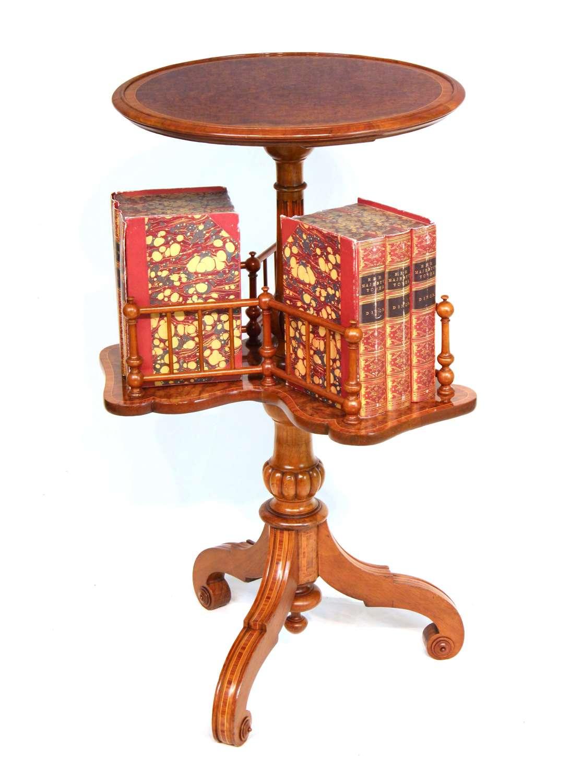 A Fine Victorian Burr Walnut Inlaid Revolving Library Table