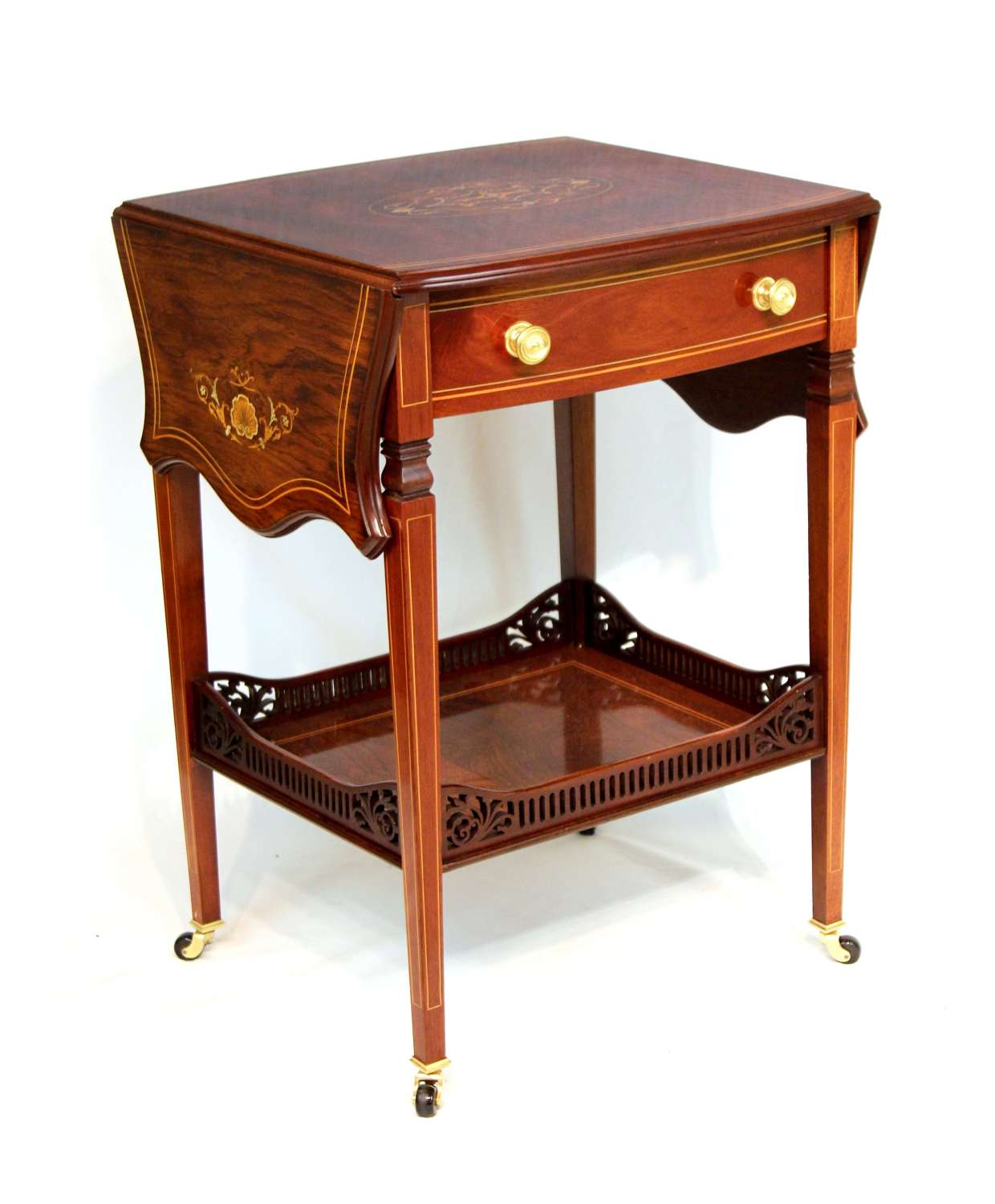 A Quality Late Victorian Inlaid Rosewood Pembroke Table