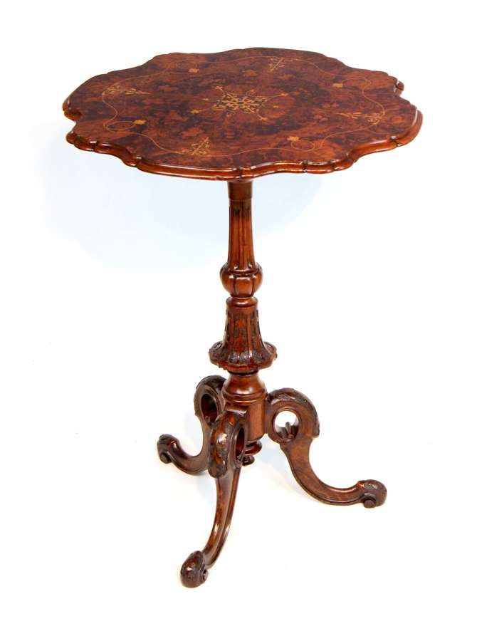A Fine Quality Victorian Burr-Walnut Inlaid Scallop edge Tripod Table