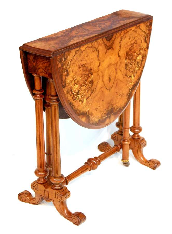 A Fine Quality Victorian Burr Walnut Inlaid Baby Sutherland Table
