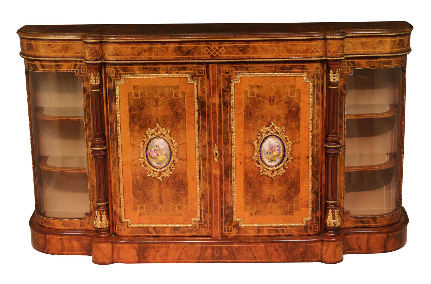 A Victorian Burr-Walnut Inlaid and Ormolu Credenza