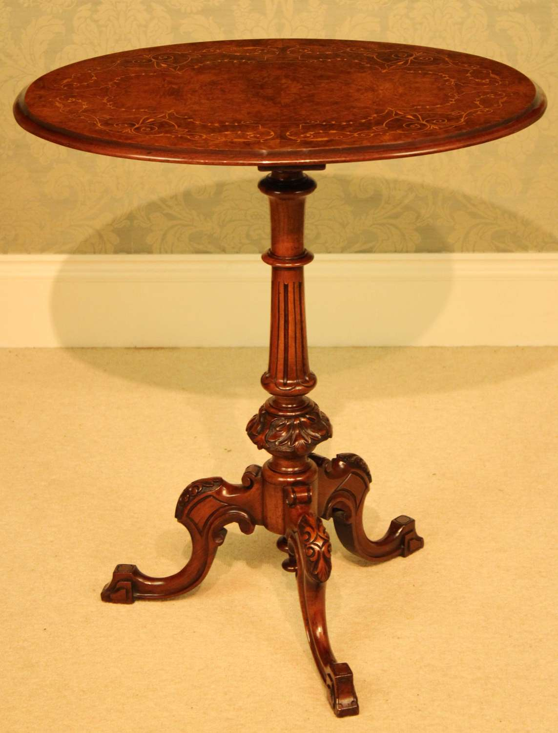 A Fine Quality Victorian Burr-Walnut Inlaid Oval Tripod Table
