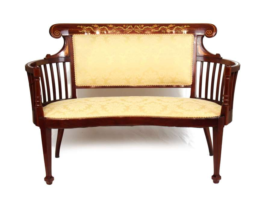 A Fine Quality Late Victorian Mahogany Inlaid Settee