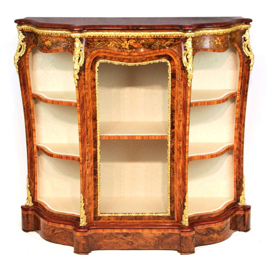 An Exhibition Quality Inlaid Victorian Burr Walnut and Ormolu Credenza