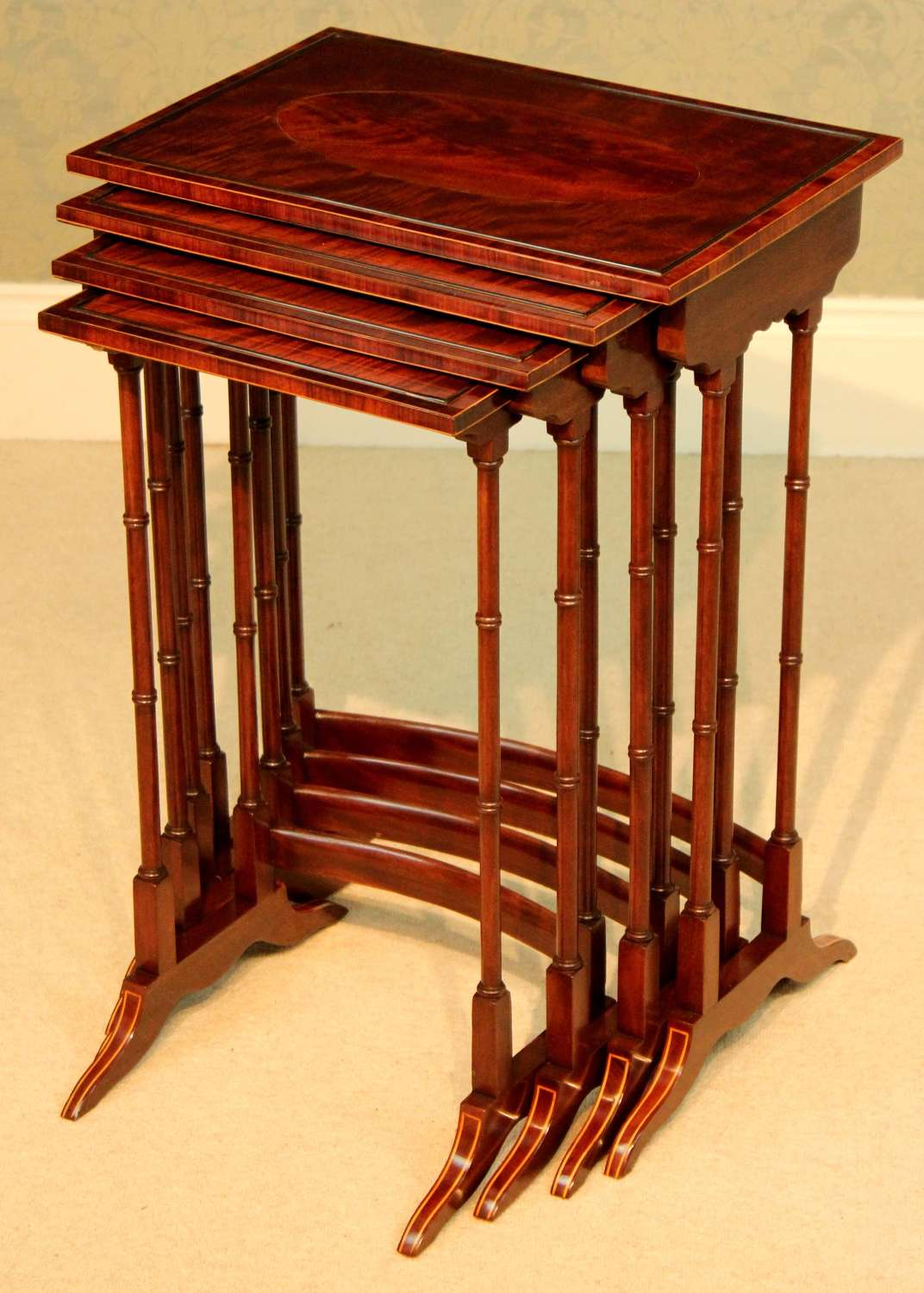 An Equisite Late Victorian Mahogany Inlaid Quartetto Nest of Tables