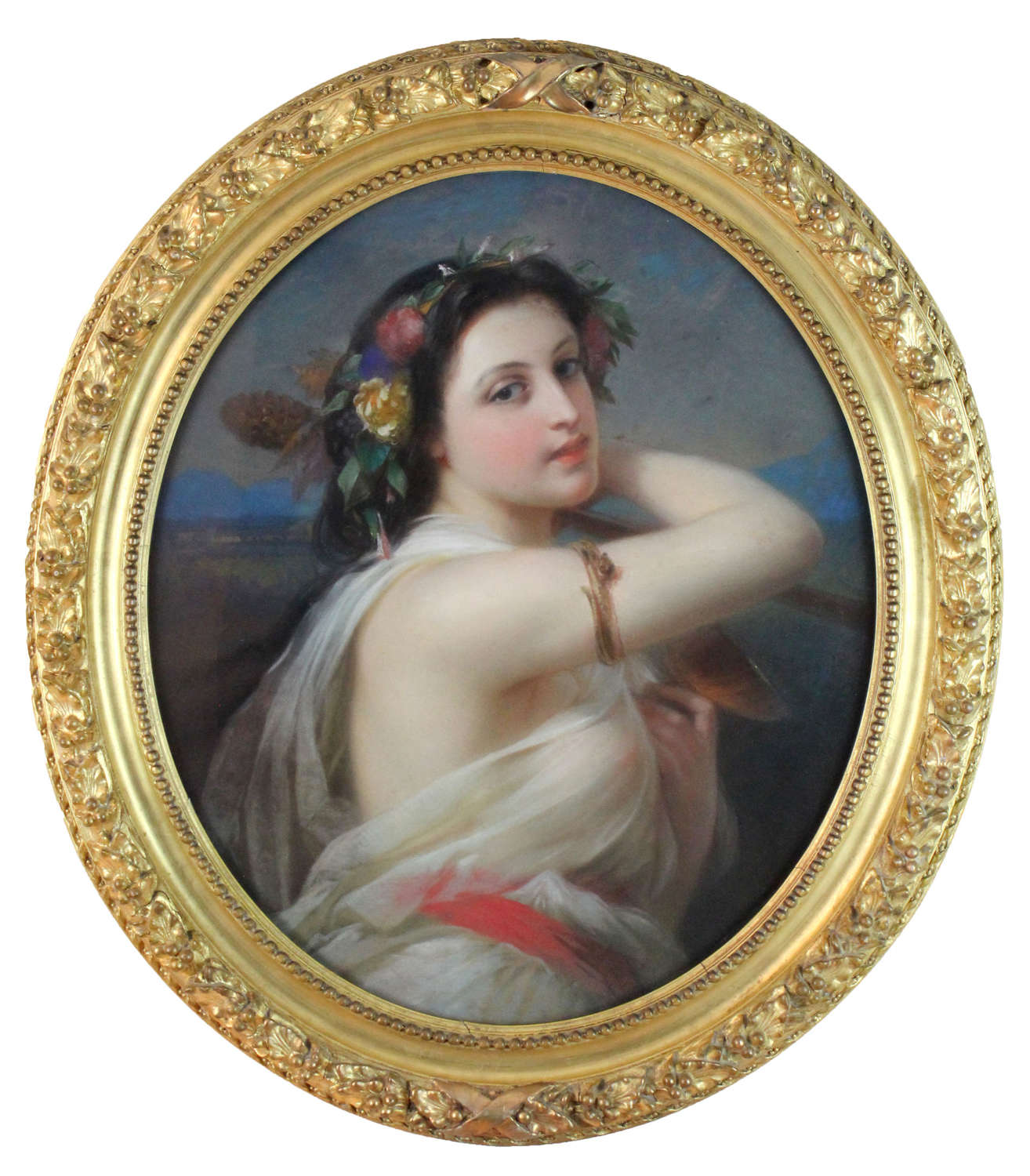 Quality Mid 19th Century French Oval Pastel Portrait of a Lady
