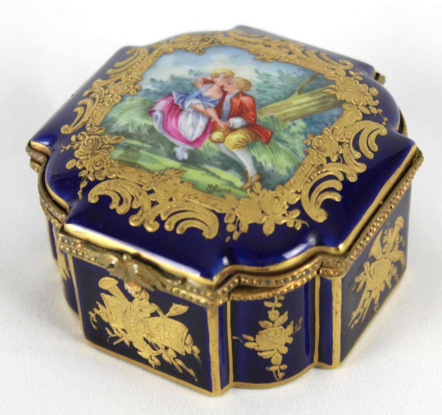 A Late 19th C. French Gros Bleu Porcelain Shaped Square Casket