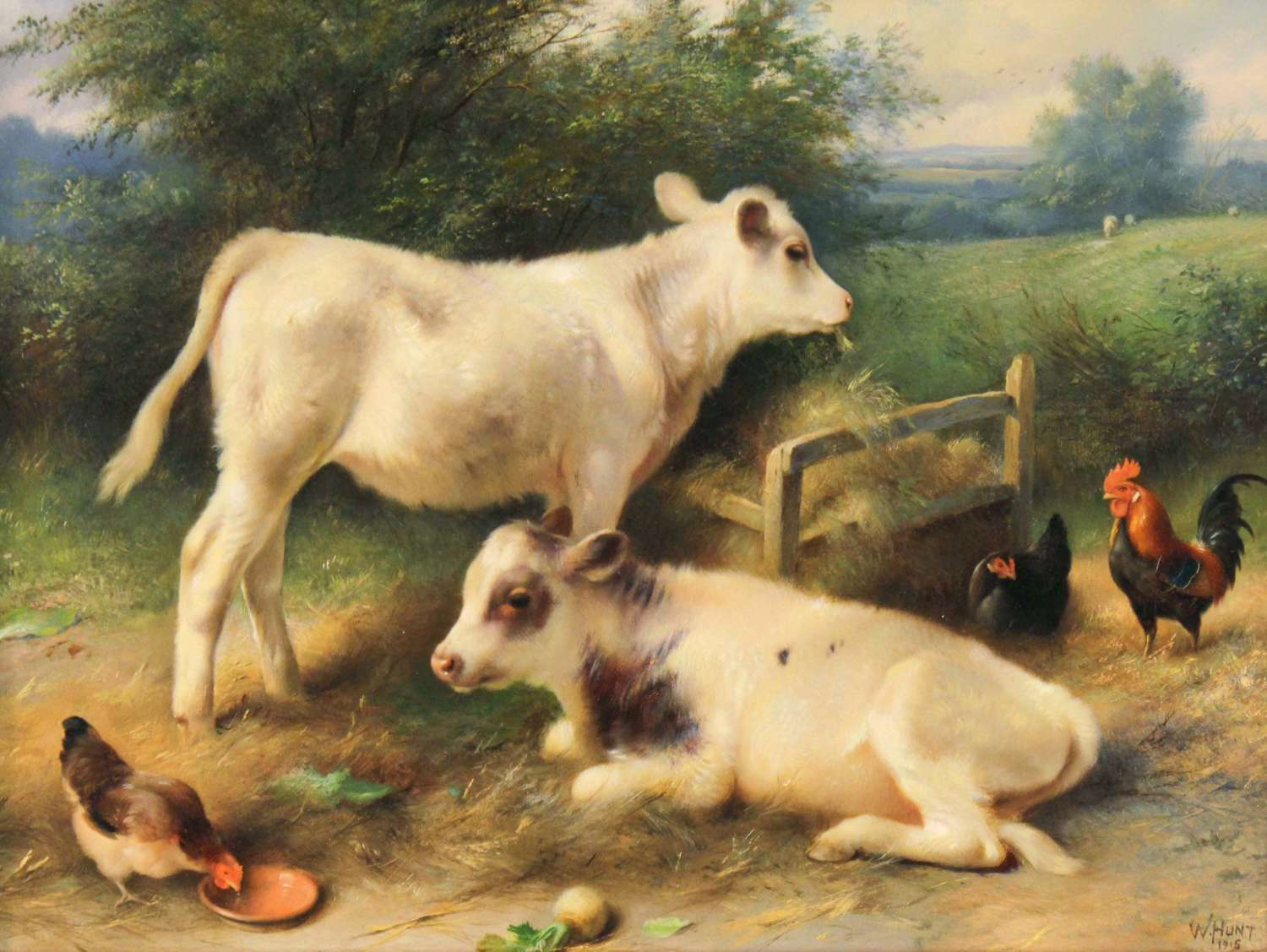 WALTER HUNT (1861–1941) Oil on Canvas of Chicken and Calves