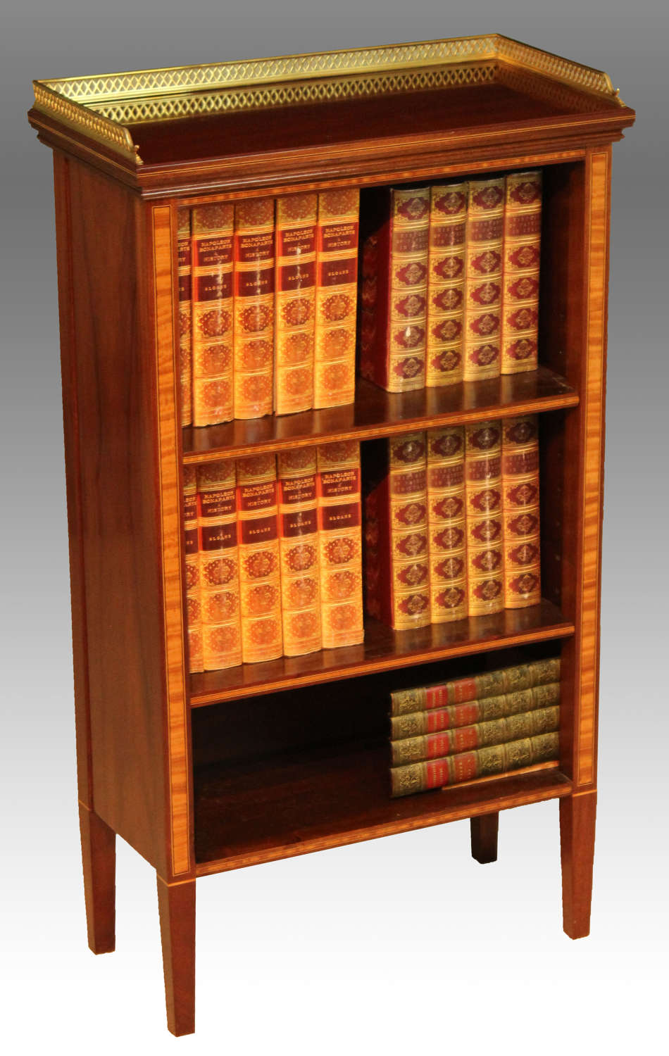 A Fine Quality Edwardian Mahogany Inlaid Open Bookcase