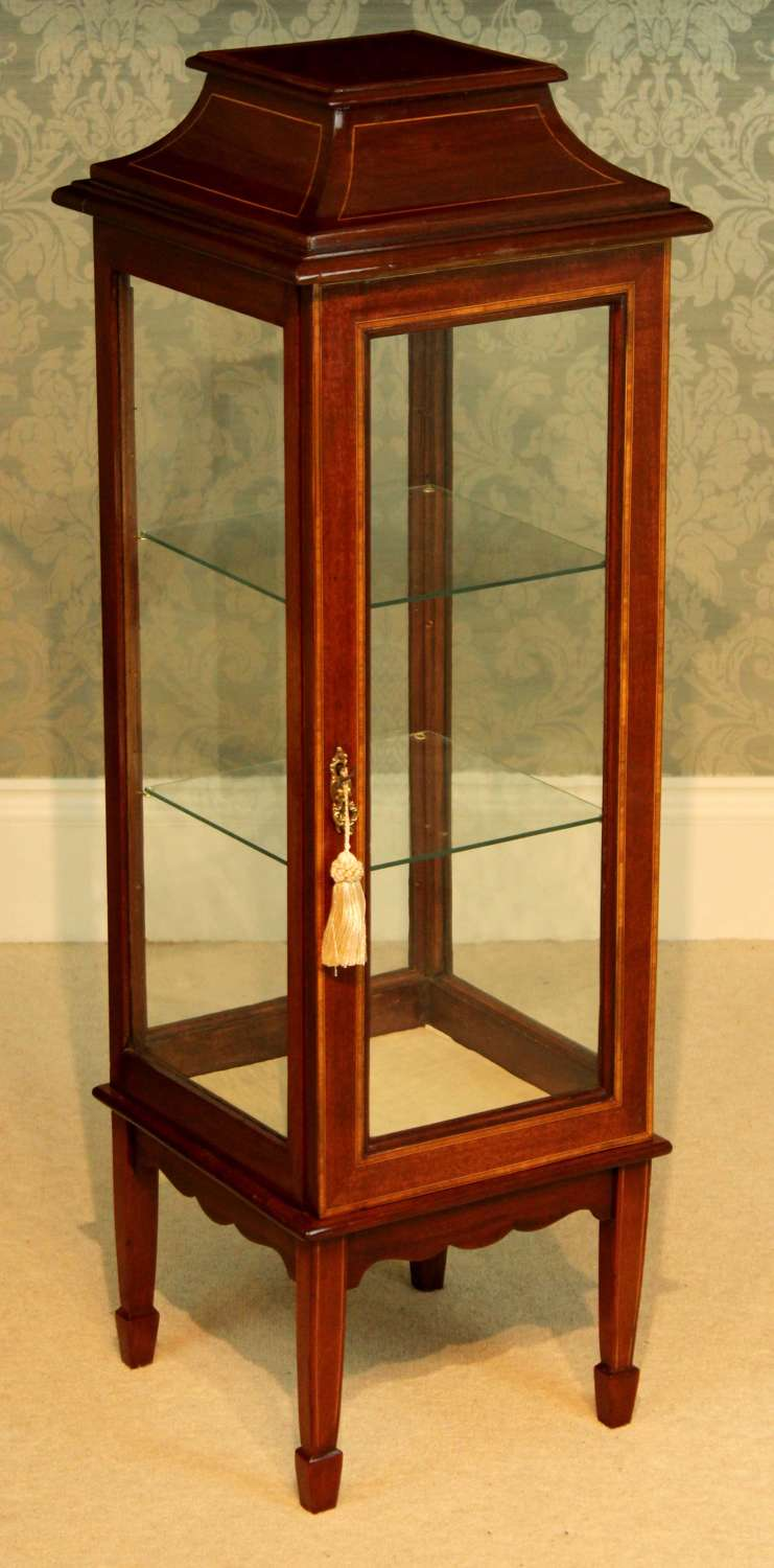 A Quality Edwardian Mahogany Inlaid Center Display Cabinet