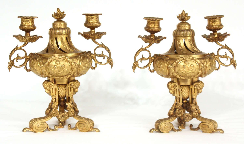 A Pair Of Late 19th Century French Gilt Ormolu Candelabra/Perfumery