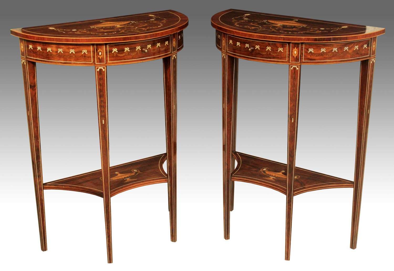 A Pair of Late Victorian Rosewood Inlaid Demi Lune Side Tables