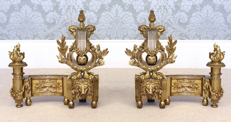 A Fabulous Pair of Louis XVI Style Lyre Motif Chenets