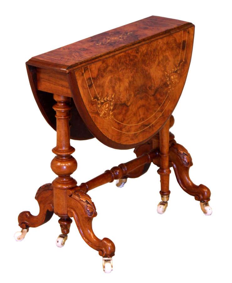 A Fine Victorian Burr Walnut Cabriole Leg Baby Sutherland Table