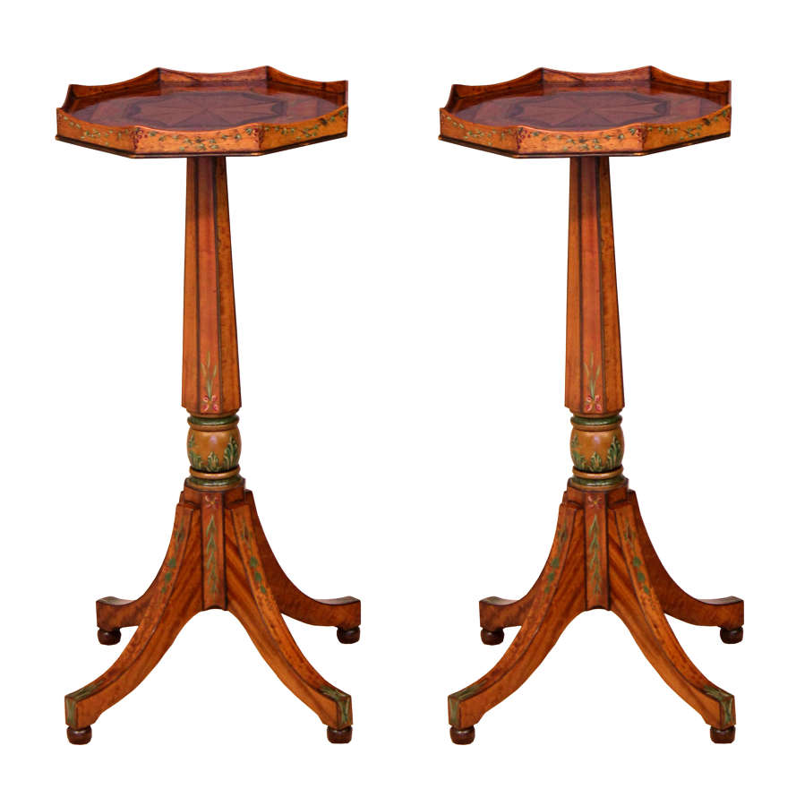 A Quality Pair of Edwardian Inlaid and Painted Satinwood Side Tables