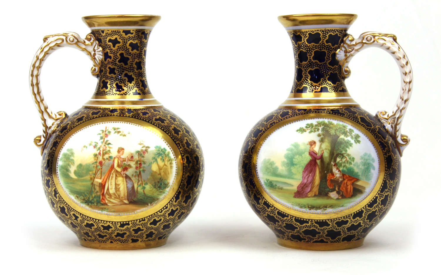 A fine pair of 18th century sevres bottle jugs