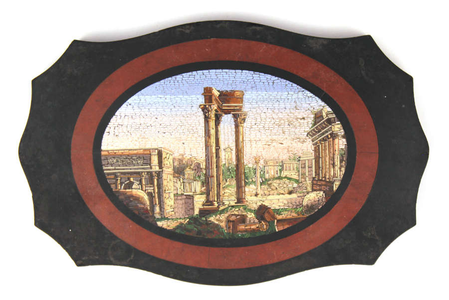 Grand Tour 19th Century Italian Micro Mosaic Plaque