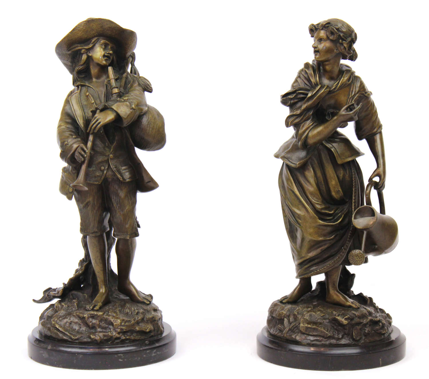 A Pair of 19th Century French Bronze Alpine Figures