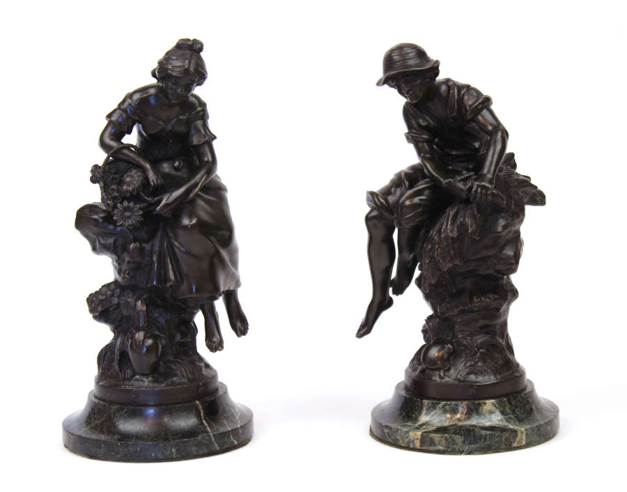A Pair of 19th Century French Bronzes of Botteleur & Fontaine Fleurie