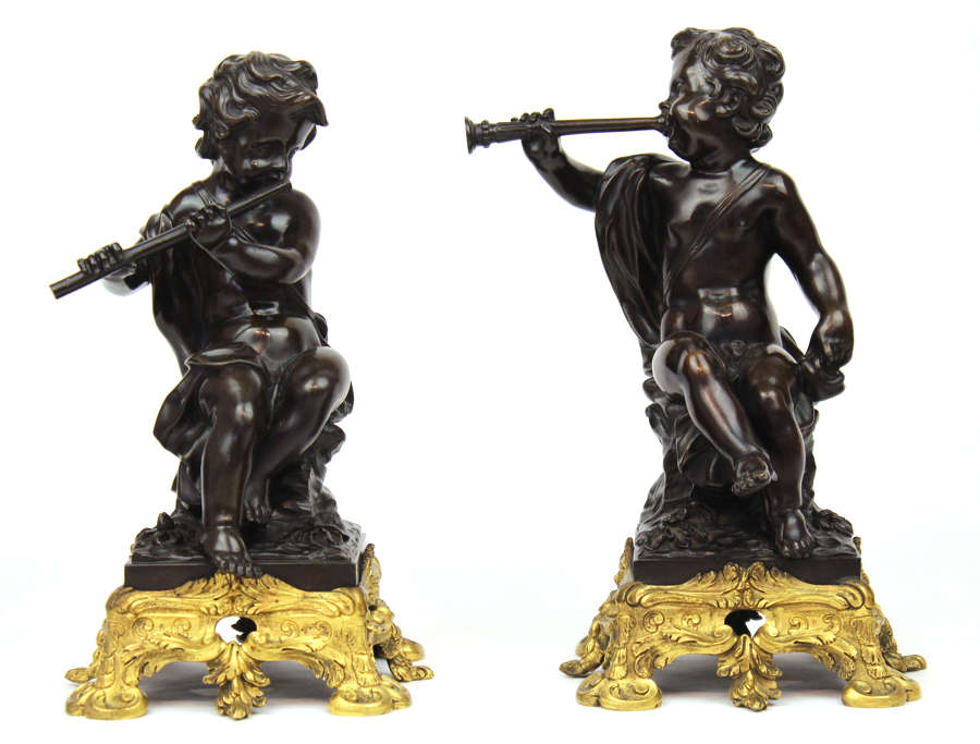 A Pair of 19th Century Bronze Cherubs