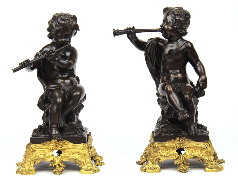 A Pair of 19th Century Bronze Cherubs