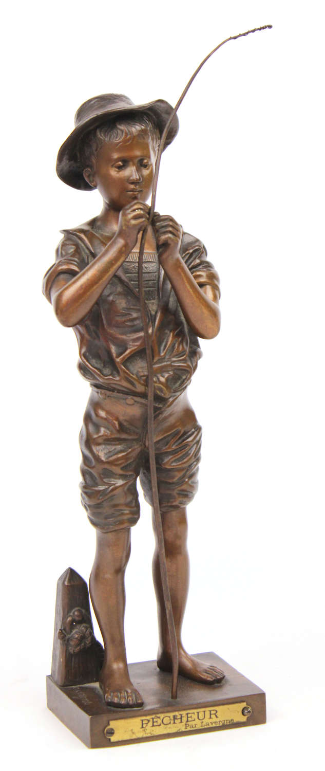Adolphe Jean Lavergne (1852-1901) Bronze Sculpture of Young Angler