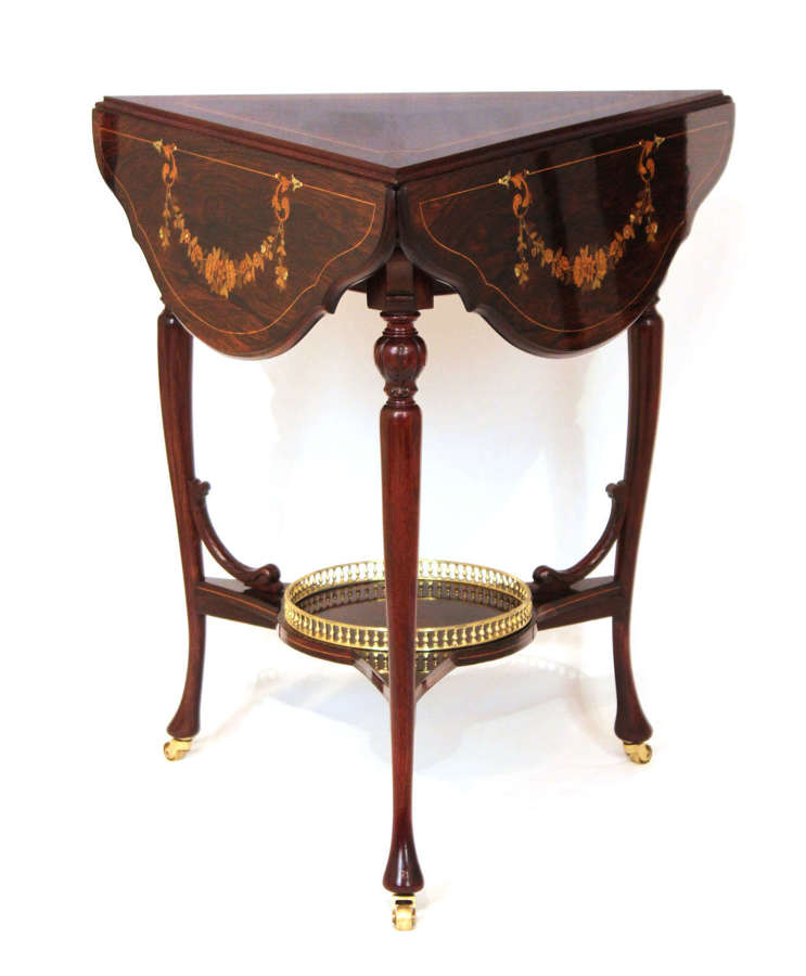 A Victorian Rosewood Marquetry Triangular Dropleaf Occasional Table.