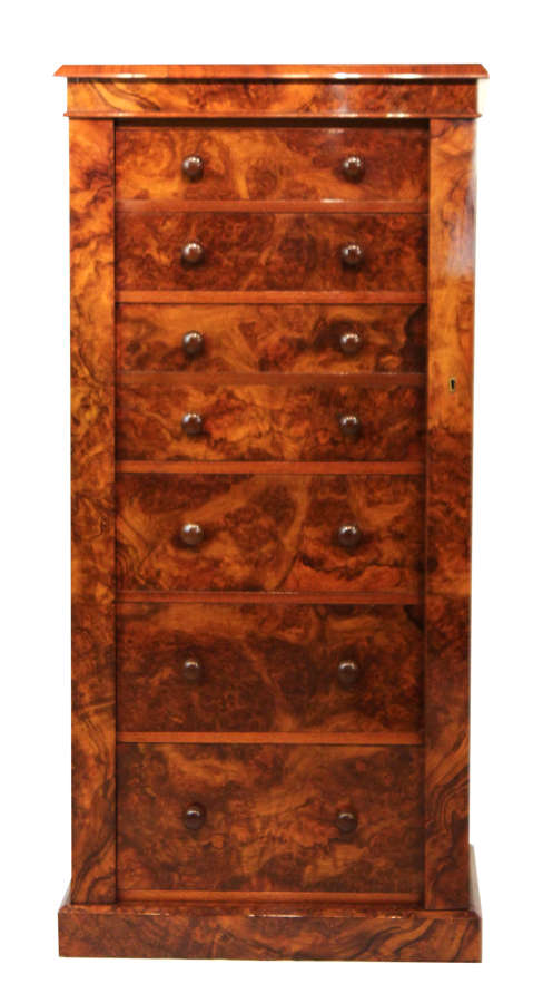 A Victorian Figured Burr Walnut Secretaire Wellington Chest