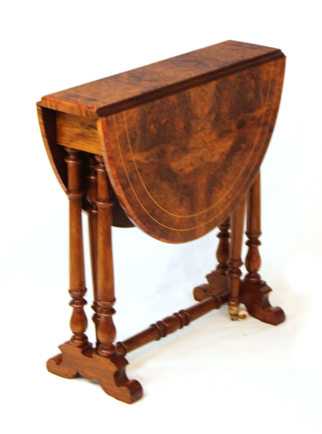A Fine Quality Burr Walnut Inlaid Baby Sutherland D-Ended Table.