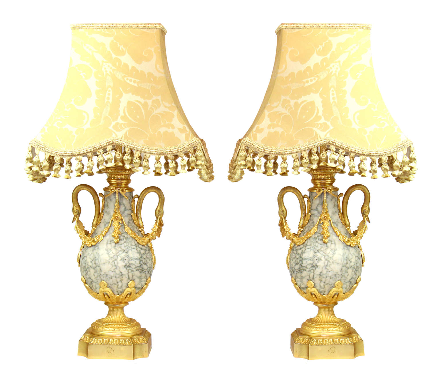 A Fine Pair of French Ormolu Marble Table Lamps