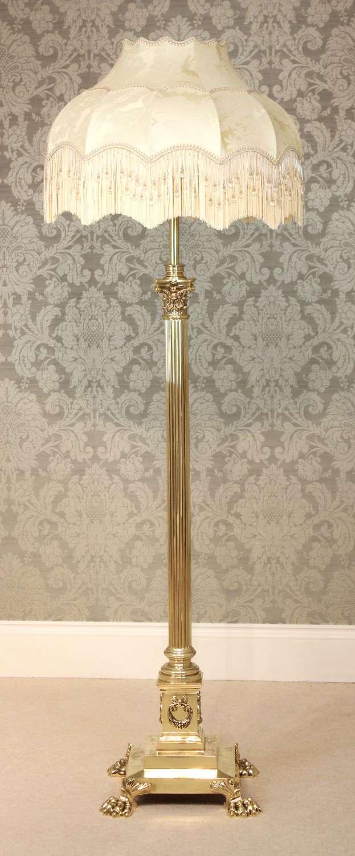 A Hinks & Sons Victorian Brass Corinthian Column floor Lamp