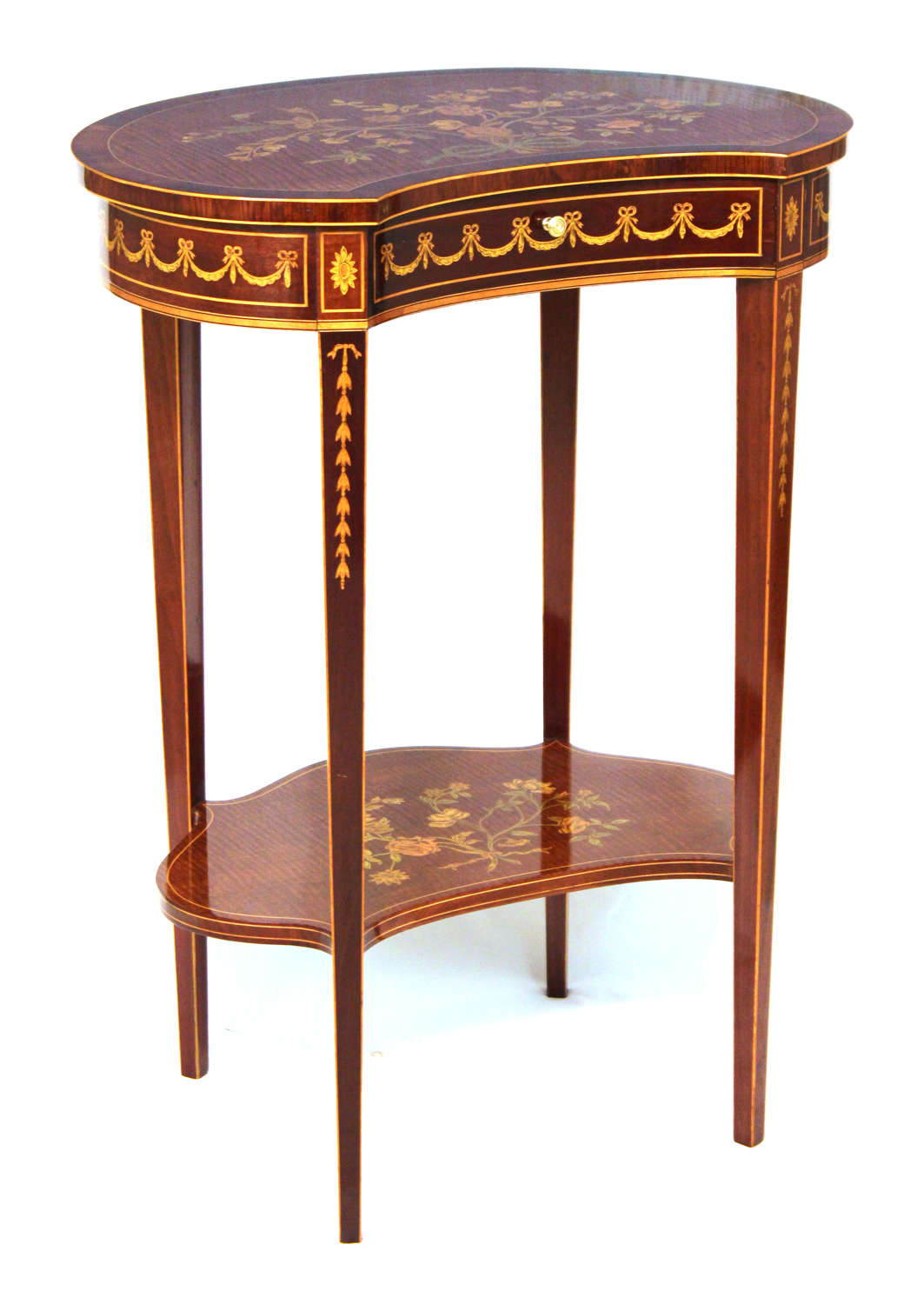 An Edwards and Roberts Inlaid Victorian Mahogany Kidney Side Table