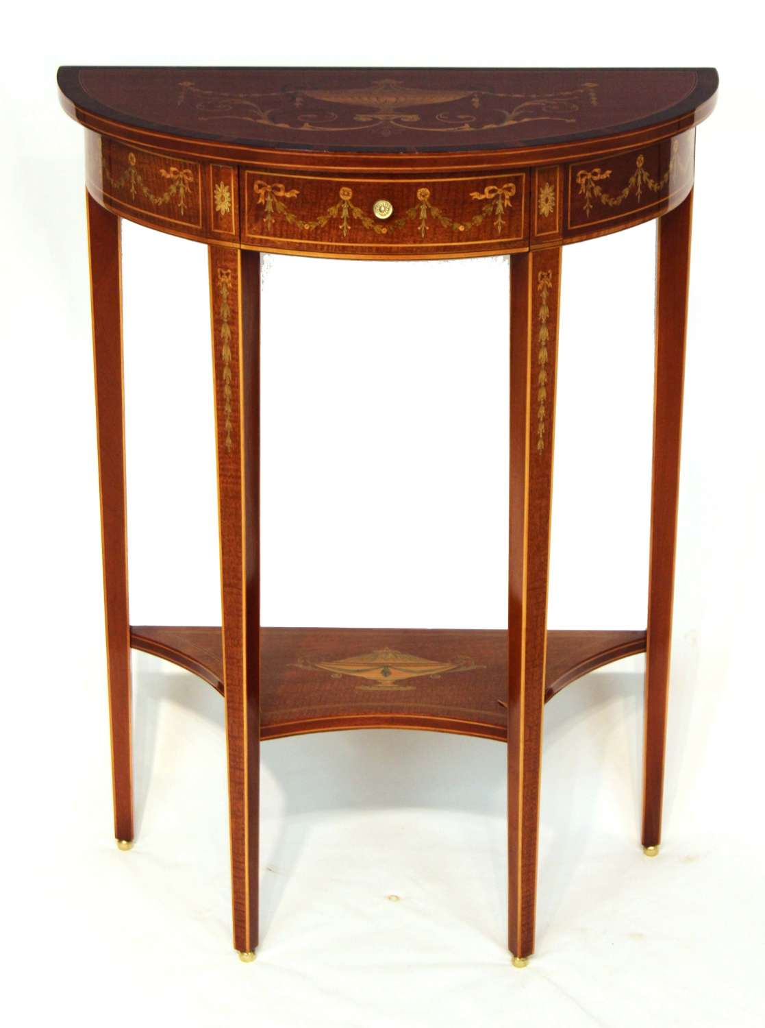 An Edwards & Roberts Quality Victorian Mahogany Inlaid Demi lune Table