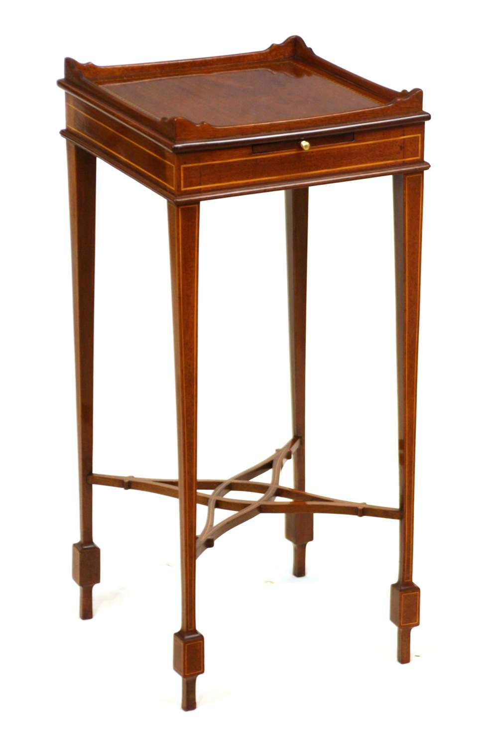 A Beautifully Inlaid Mahogany Victorian Square Kettle Stand