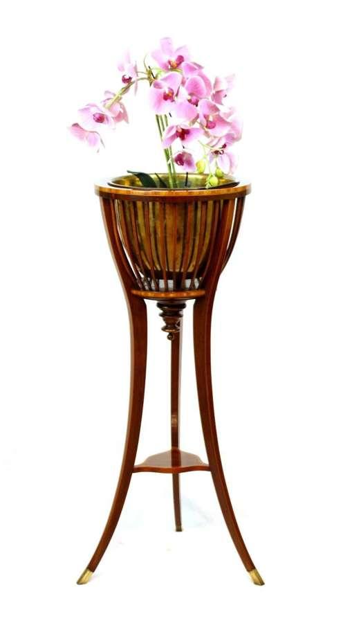 A Fine Edwardian Mahogany Inlaid Jardinière