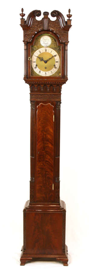 A Quality Late 19th C. Mahogany Chippendale Grand daughter Clock
